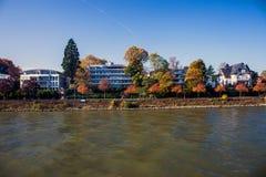 Villas next to river Rhine Stock Photos