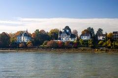 Villas next to river Rhine in Bonn Royalty Free Stock Photo