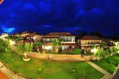 Villas resort and garden - night scene Stock Photos