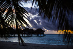 Villas at sunset, Maldives Stock Photography