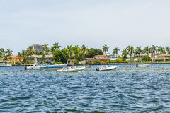 Villas and yachts in Fort Lauderdale seen from the water taxi Royalty Free Stock Image