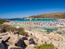 Transparent and turquoise sea in Punta Molentis, Villasimius. Sa Stock Images