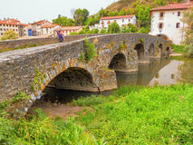 Villava mediaeval bridge, called Puente de la Trinidad, Camino d. E Santiago, Navarra, Spain Stock Images