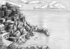 Ville à la falaise par la mer Image libre de droits