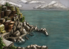 Ville à la falaise par la mer 3 illustration stock