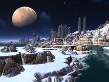 Ville étrangère d'ordinateur de secours par Moonlight en hiver illustration stock