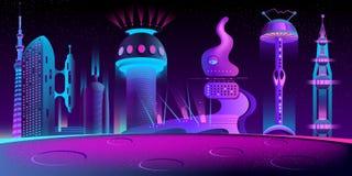 Ville étrangère fantastique, futur vecteur de colonie de Mars illustration libre de droits