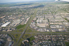 Ville aérienne de Calgary de photo Photographie stock