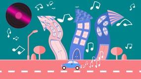 Ville abstraite de danse dans un style plat avec un plat de vinyle au lieu du soleil avec les maisons incurvées avec des notes av illustration libre de droits