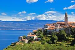Ville adriatique de Vrbnik, île de Krk Images libres de droits
