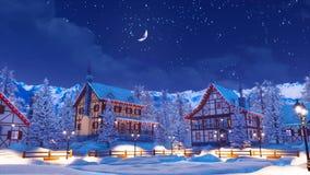 Ville alpine lumineuse de montagne la nuit 4K hiver illustration stock
