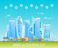 Ville amicale futée et écologique Paysage urbain, paysage urbain illustration libre de droits