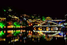 Ville antique de Fenghuang, comme ville historique et culturelle nationale, la première série de comtés de touristes forts en Chi photos libres de droits