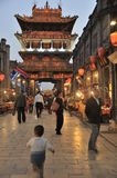 Ville antique de Pingyao la nuit Photo stock