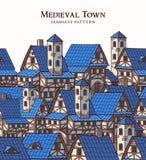 Ville antique médiévale Configuration sans joint illustration de vecteur