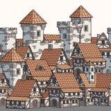 Ville antique médiévale Configuration sans joint de cadre illustration de vecteur