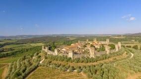 Ville antique médiévale entourée par les murs circulaires, vue aérienne images libres de droits