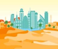 Ville arabe de bande dessinée sur un fond de paysage Vecteur illustration stock