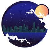 Ville au néon avec la lune, les étoiles et l'océan, illustration de vecteur illustration libre de droits