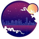 Ville au néon avec la lune, les étoiles et l'océan, illustration de vecteur illustration stock