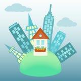 Ville autour de maison sur un globe Illustration de Vecteur