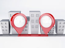 Ville avec des indicateurs de carte concept de généralistes Images stock