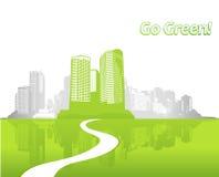 Ville avec l'herbe verte. Image stock