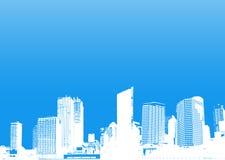 Ville avec le fond de turquoise Image stock