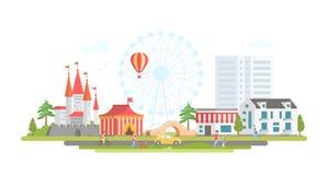 Ville avec le parc d'attractions - illustration plate moderne de vecteur de style de conception illustration de vecteur