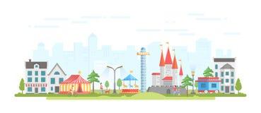 Ville avec le parc d'attractions - illustration plate moderne de vecteur de style de conception illustration stock