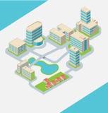 Ville avec les bâtiments isométriques Photos libres de droits