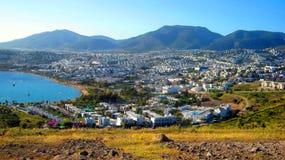 Ville blanche Bodrum en Turquie Image libre de droits