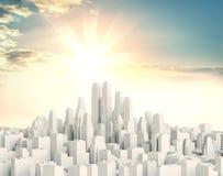 Ville blanche du centre contre un beau lever de soleil Photos libres de droits