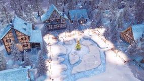 Ville bloquée par la neige à la vue supérieure de nuit d'hiver de Noël illustration de vecteur