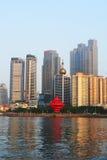 Ville chinoise de bord de la mer, Qingdao Photos libres de droits