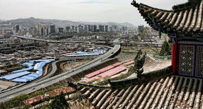 Ville chinoise moderne de Xining images libres de droits