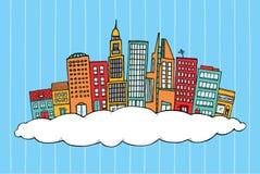 Ville dans les nuages Illustration de Vecteur