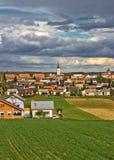 Ville colorée de vue de verticale de Krizevci Photo stock