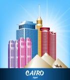 Ville colorée des bâtiments célèbres du Caire Egypte Image stock