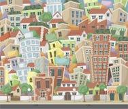 Ville colorée de bande dessinée Image libre de droits
