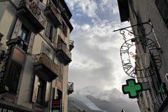 Ville commune de Chamonix, Chamonix-Mont-Blanc dans le Haute-Savoie, France Image libre de droits
