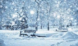 Ville couverte de neige Photographie stock libre de droits