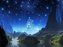Ville cristalline de lumière bleue illustration de vecteur