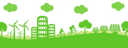 Ville d'écologie de concept - actions illustration de vecteur