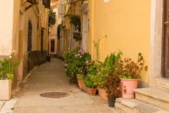 Ville d'île de Corfou, bâtiments de maisons d'allées, Grèce photos libres de droits