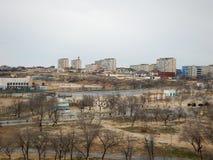 Ville d'Aktau sur la mer photo libre de droits