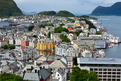 Ville d'Alesund. La Norvège. Image stock