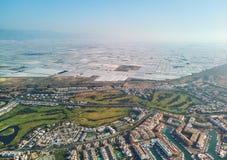 Ville d'Almerimar de photographie de bourdon et serres chaudes aériennes, Almeria, Andalousie, Espagne photo stock