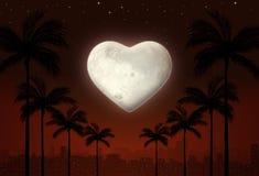 Ville d'amour de Valentine la nuit illustration stock