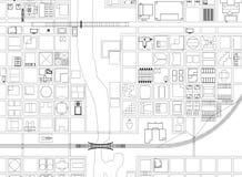 Ville d'architecte ci-dessus Blueprint - d'isolement illustration de vecteur